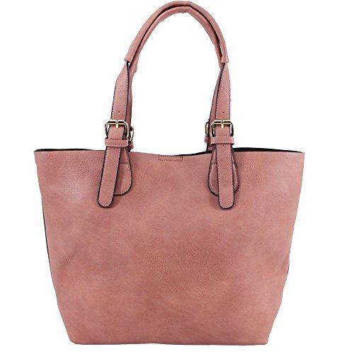 Haute für Diva S Neu Damen Kunstleder Top Henkel Riemen innen mit Reißverschluss Einkaufstasche Tragetasche - grau, Large Rosa
