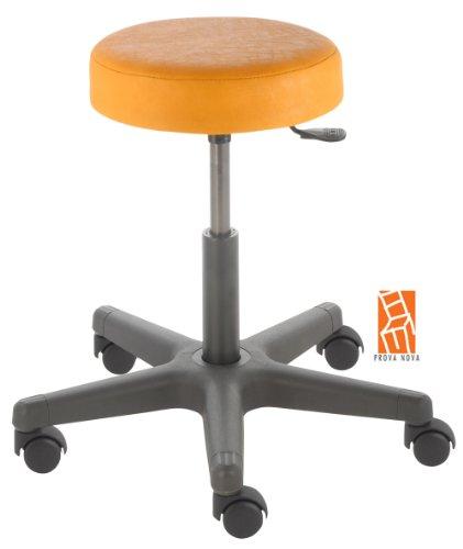 Arbeitshocker , Arzthocker, Drehhocker, Rollhocker Modell comfort, Hubbereich ca. 46 - 59 cm, Rollen mit harter Radbandage. Ideal geeignet für weiche Böden wie z.B. Teppich. Sitzfarbe mais
