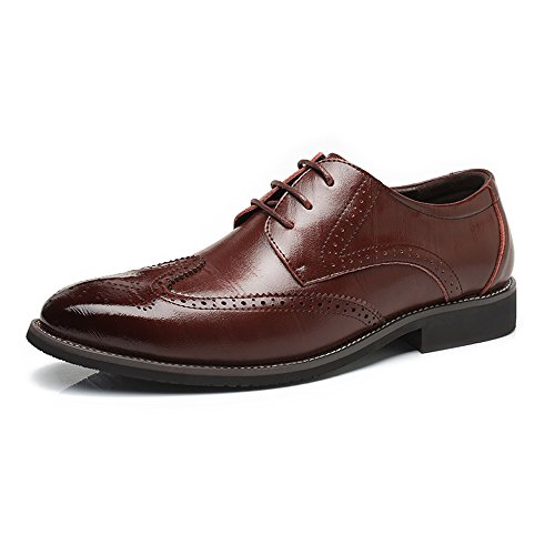 Sunny&baby scarpe brogue in vera pelle da uomo wingtip hollow carving lace up business traspirante low top foderato oxford resistente all'abrasione (color : brown, dimensione : 41 eu)