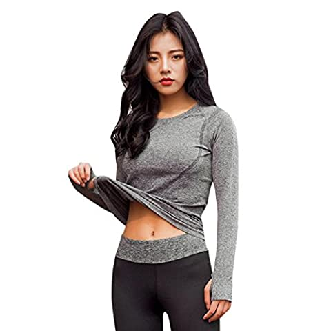 DAYLIN 1PC Women Sport Gym Yoga Fitness Long Sleeve Quick Dry Shirt Blouse Top (L, Gray)