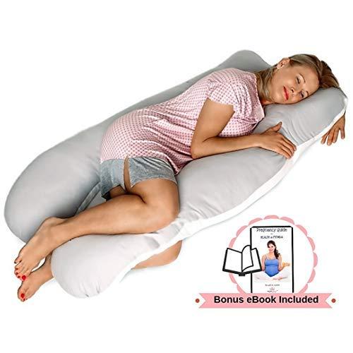 Pillow Capital Schwangerschaftskissen, U-förmig, für Rücken, Hüfte, Knie und Nacken, Schmerzlinderung - waschbar, 100% Perkal-Baumwolle, in Geschenkverpackung
