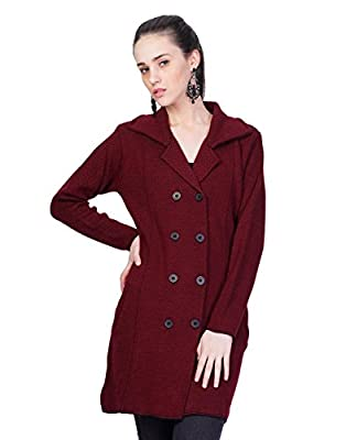 Montrex Maroon Designer Long Coat For Women