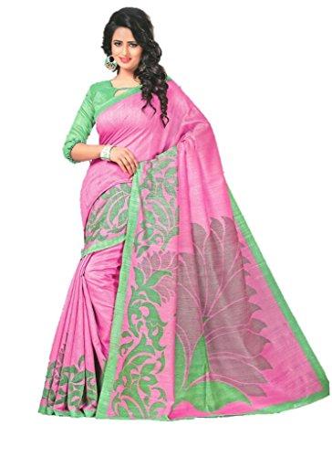 Design Willa Women's Cotton Jute Saree With Blouse Piece (Amazon171_Multicolor)