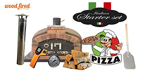 Brown Franco Wood Fired Pizza Oven Double Insulation Starter Kit, Cast Iron Door, Without gas burner, 120cm x 120cm