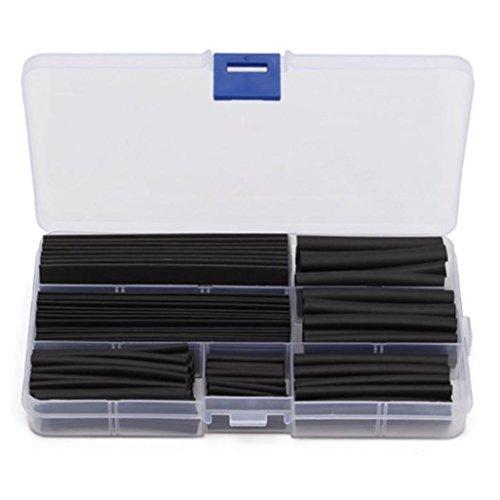 Erthome Lot de 150 la chaleur Tube de gaine thermorétractable Assortiment Fil isolant de câble Gaine kit 8 tailles Noir