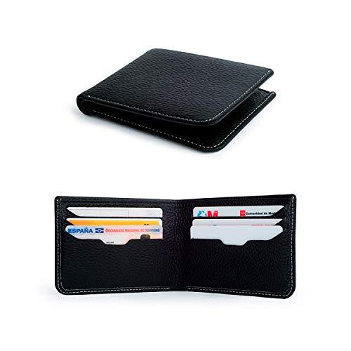 Cartera de piel para hombres de muy buena calidad con capacidad para ocho tarjetas, espacio para billetes y un pequeño bolsillo para guardar un clip extractor de tarjeta sim. Nuestra billetera negra está confeccionada para ofrecer una mayor seguridad...