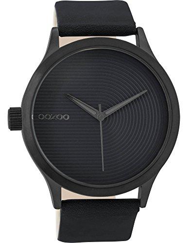 Oozoo Damenuhr mit Lederband 44 MM Black/Schwarz/Schwarz C9432