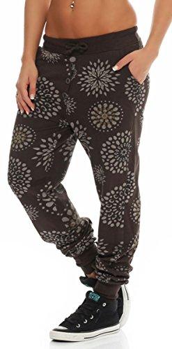 malito Damen Sweatpants mit Print | Baggy zum Tanzen | Jogginghose mit Knopfleiste | Trainingshose 8027 Braun