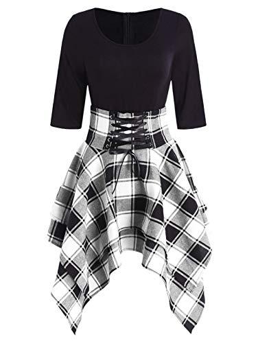 ZEZCLO Damen Halbarm Rundkragen Plaid Lace Up Asymmetrische Bluse Tartan Kleid (M, Schwarz)