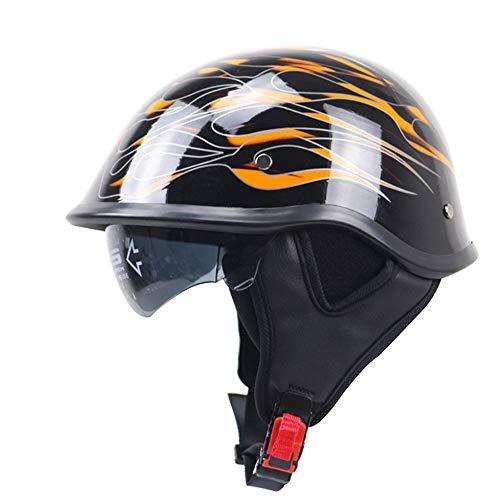 HXZM Motorrad Halbhelm/D.O.T und CEC-Standard, Leichtmotor-Motorrad-Harley-Helm und Fallsonnen-Boto für Cruiser-Chopper-Radfahrer-gelbe Flamme (57cm-64cm),M