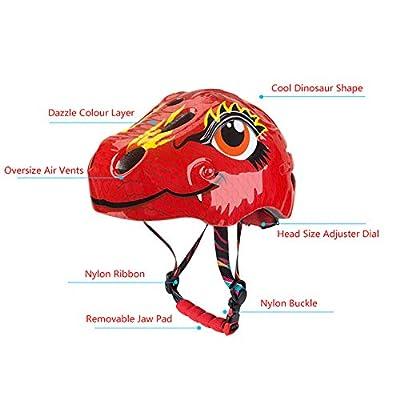 Juanya Kids Helmet for Age 3-10 Toddler Cartoon Animal Dinosaur Helmet Adjustable Size Safety Bike Skateboard Ski Scooter Roller Girls Boys Helmets from Juanya