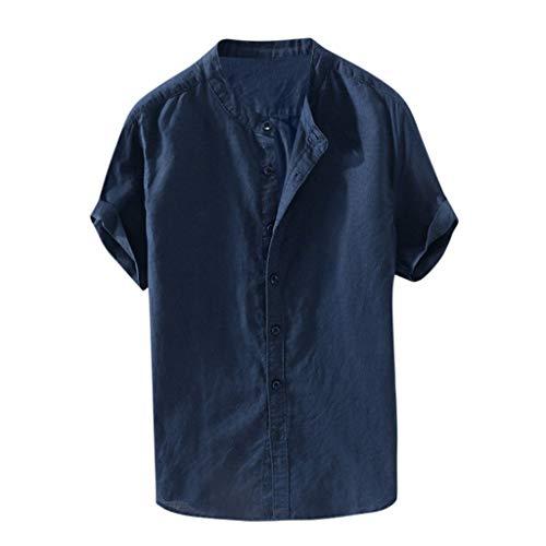 aumwolle Leinen Hemd einfarbig Tops Kurzarm Knopf Bluse Retro Baggy T-Shirt,Marine,L ()