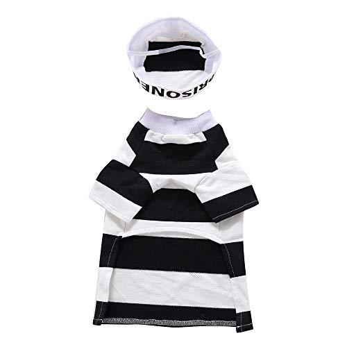 RFVBNM Haustier Hundebekleidung für Kleine Hunde Winter Weihnachten Halloween Kleidung Kleider warme Katze Mantel Kürbis Zauberer verwandeln lustige Kostüm, Gefangener Anzug, M