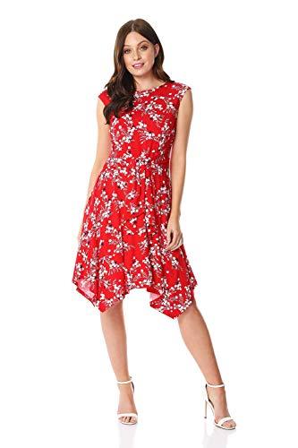 Roman Originals Damen Kleid mit Zipfelsaum und orientalischen Blumen - Damen Lässig-Elegantes Kurzarm-Kleid, Alltag, Sommer, Urlaub, abends, besondere Anlässe, Party, geblümt - Rot - Größe 38