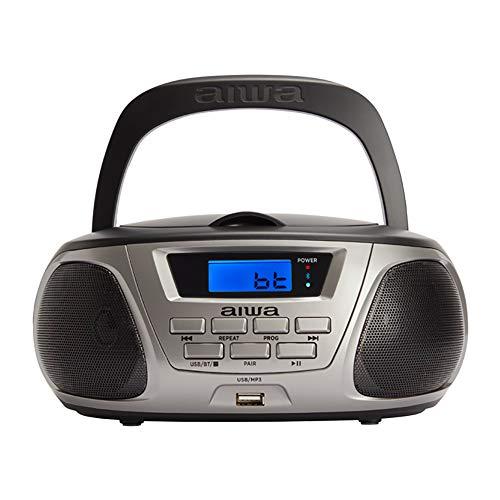 Oferta de Aiwa BBTU-300BK: Radio CD Portátil con Bluetooth, USB, Aux In, Sintonizador de radio, Edición especial Infantil para niños y niñas