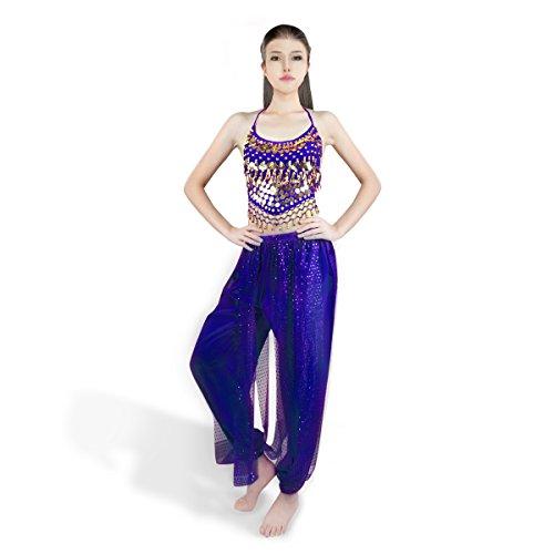 SymbolLife Bauchtanz kostüm damen indischen Tanzkleidung Tanzkostüme belly Dance Halloween Karneval Kostüme Darbietungen Kleidung dark mineral blau