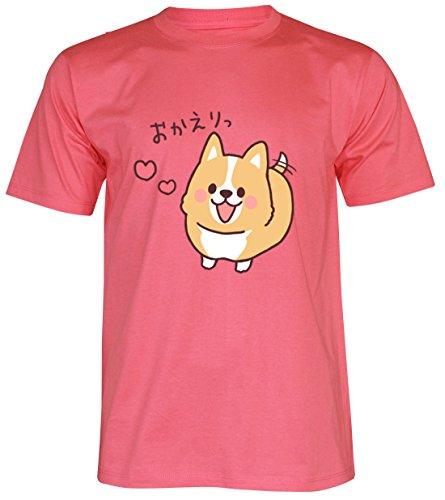 PALLAS Unisex's Corgi Lovely Cute Funny T-Shirt Pink