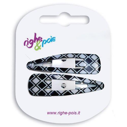 Righe e Pois - 04-509 - Lot de 2 barrettes clic clac à cheveux, en métal verni, 5 cm, motif losanges gris