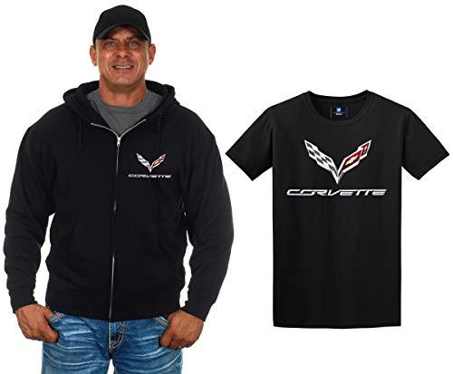 JH Design Chevy Corvette C7 Kapuzenpullover und Corvette T-Shirt, Geschenkset für Herren - Schwarz - X-Groß - Sweat-shirt Corvette