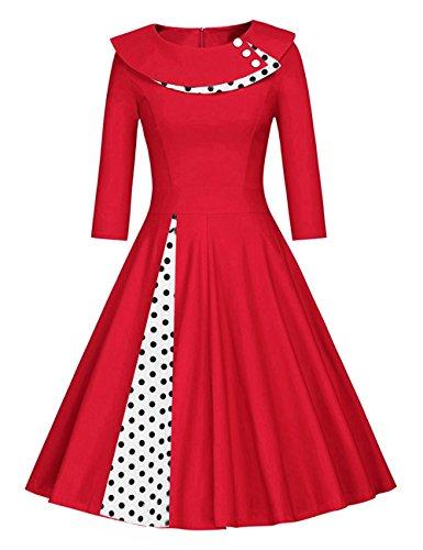 Là Vestmon Damen RetroCocktailkleid 50er Schwingen Vintage Rockabilly Kleid Faltenrock Abendkleider Polka Dot Schwarze Weiße Punkte Langarm