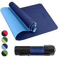 Homtiky Esterilla Yoga Colchoneta de Yoga Antideslizante con Material ecológico TPE con líneas corporales Yoga Mat diseñado para Entrenamiento y Entrenamiento físico, Azul