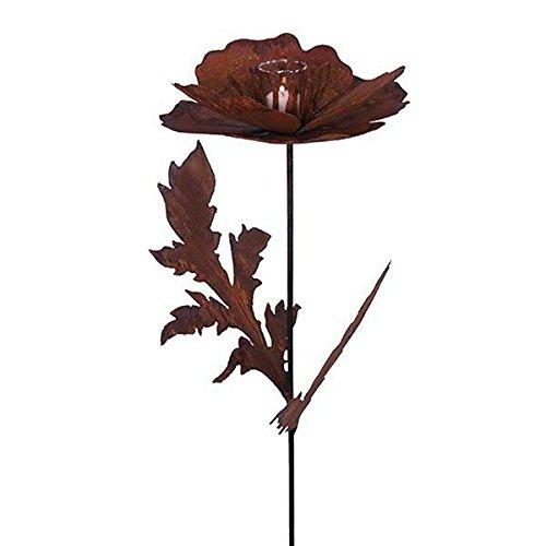 Wunderschöner & Hochwertiger Gartenstecker - Rost Blume/Blumenstecker - Große Auswahl - Edelrost Dekoblume - Metall Gartendeko (Mohnblume für Teelicht - Ø 30cm)