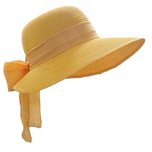 Leisial Damen Sonnenhut Fischerhut Flexible Sommer Hüte Strandhut mit Große Bowtie,Gelb (Große Kappe)