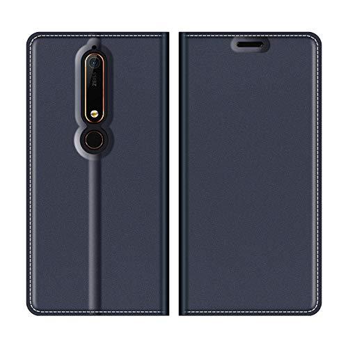 MOBESV Nokia 6 2018 Hülle Leder, Nokia 6.1 Tasche Lederhülle/Wallet Case/Ledertasche Handyhülle/Schutzhülle mit Kartenfach für Nokia 6 2018 / Nokia 6.1 - Dunkel Blau