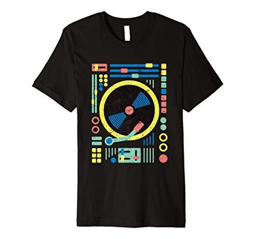 (DJ T-Shirt: Retro Vintage Geometrische DJ DECKS/Vinyl/Mixer)