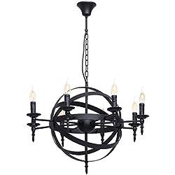 MW-Light 249017208 Lámpara de Techo de Hierro Forjado Color Negro Estilo Medieval Forma de Globo decorativo Con 8 Brazos Velas Para Comedor de Cocina 8 x 60 W E14Excl