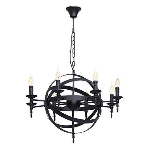 Rustikale Pendelleuchte mittelalterlicher Kronleuchter mit Kerzen 8-flammig Landhausstil