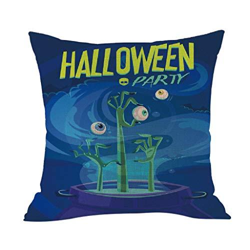 Xmiral Kissenbezüge Kissenhüllen Baumwollmischung Grimasse Drucken Halloween Schmücken Kopfkissenbezug 45x45cm(BJ)