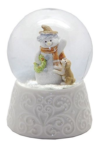 Minium Collection 20085 Schneekugel Schneemann avec Base de Porcelaine Blanche Chien 65mm de diamètre - air Bubble