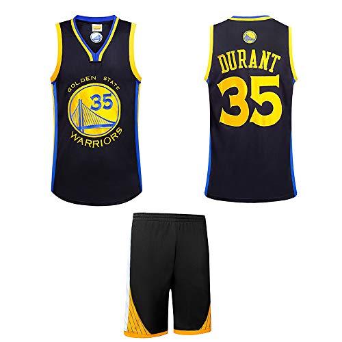 ZQ Golden State Warriors Kevin Durant # 35 Trikot - Klassisches ärmelloses Set, Basketball für Herren und Unisex-T-Shirt mit gestickten Buchstaben und Zahlen in Schwarz-XXL (Gestickte Trikot-kleid)