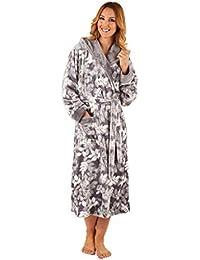 6c55fb5c49 Slenderella HC8321 Women s Grey Leaf Print Robe Long Sleeve Dressing Gown