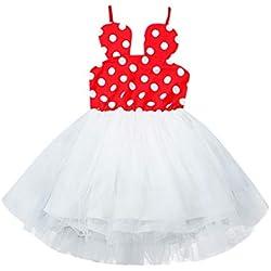 Xmiral Bebés Niñas Vestido Lunares de Tutú Princesa Traje para Ceremonia Fiesta Carnaval Dress Tirante para Boda Cumpleaños (Rojo,12-18 Meses)