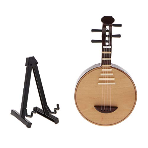 12,5 Cm Miniatur Holz Chinese Moon Lute Yueqin Modell W/Stand