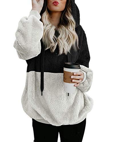 ZiXing Damen Casual Plüsch Kapuzenpullover Langarm Sweatshirt Pullover Teddy Fleecejacke Outwear Herbst Winter Bekleidung Schwarz XXXXX-Large