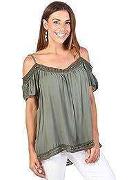 KRISP® Damen Schulterfreies Träger Top mit Ärmeln