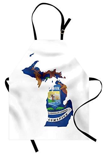 Michigan Schürze, Great Lakes State Map mit Flagge Wolverine Elch und Elch Eagle Sun Lake, Unisex-Küche Latzschürze mit verstellbarem Hals für das Kochen Backen Gartenarbeit, Kobaltblau ()