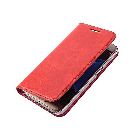 Wormcase Handytasche Samsung Galaxy S7 - Echtleder - Handgefertigt - KARTENFACH – Magnetverschluss - Farbe Rot - Case Ledertasche Etui Flip Case Cover Schutz-huelle Echtleder-Hülle