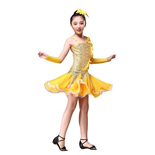 Yocobo abito da ballo kids dance dance dress rumba samba ballroom dancewear performance competition danza costume vestito outfit con maniche a mano copricapo body ginnastica