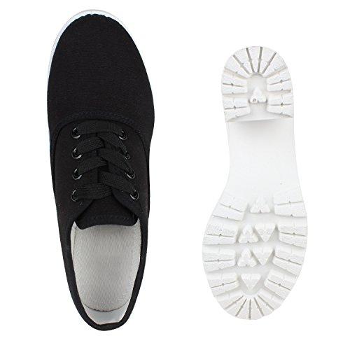 Stiefelparadies - Scarpe con plateau Donna Nero/Bianco