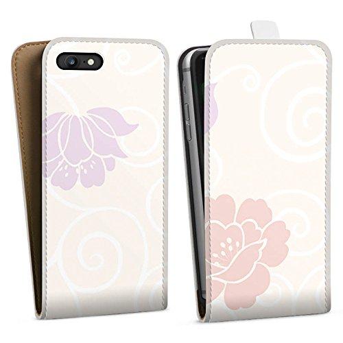 Apple iPhone X Silikon Hülle Case Schutzhülle Flower Blumen Muster Downflip Tasche weiß