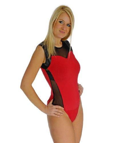 Damen Body figurbetonter Tanz Body Shirt Top Stretch Chiffon rot Rot