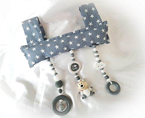 Baby Mobile Clip für den Tragegriff der Babyschale oder Wippe (Grau, Teddy, I love mom/dad, Wolke) -