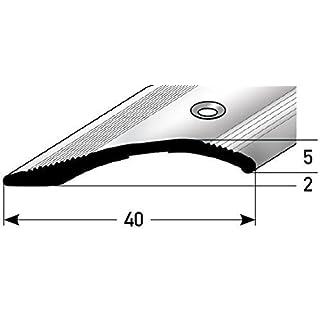 Höhen-Ausgleichsprofil 40mm x 100cm - silber ✓ 2mm - 16mm ✓ Gebohrt ✓ Stufenloser Höhenausgleich   Aluminium Anpassungsprofil für Laminat, Teppich, Parkett & Fliesen