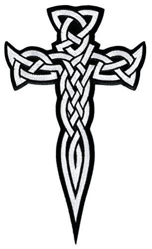 Große Keltisches Kreuz Dagger Weiß Patches Applikation Bestickt Irish Kruzifix