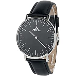 Aurora Women's Casual Business Analogue Quartz Black Dial Wrist Watch with Black Leather Band-Silver