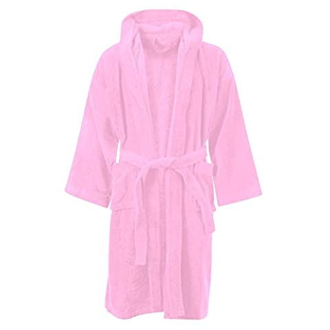 Kids Boys Girls Bathrobe 100% Egyptian Cotton Luxury Velour Towelling Hooded Dressing Gown Soft Fine Comfortable Nightwear Terry Towel Bath Robe Lounge Wear Housecoat With Pockets (Pink) (6-8